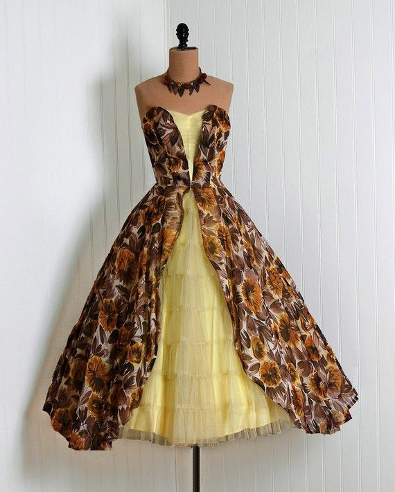 1950's Vintage Sunshine-Yellow Watercolor Autumn-Floral Sequin Silk-Organza and Tulle-Couture Sweetheart Low-Plunge Strapless Nipped-Waist Rockabilly Ballerina-Cupcake Princess Tiered-Ruffle Bombshell Circle-Skirt Garden Wedding Formal Party Dress