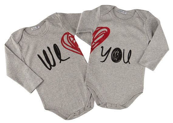 Twin Valentine Onesies by myTwinsCollection on Etsy