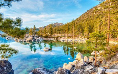 Scarica sfondi montagne, usa, lago, foresta, lago blu, albero, lake tahoe