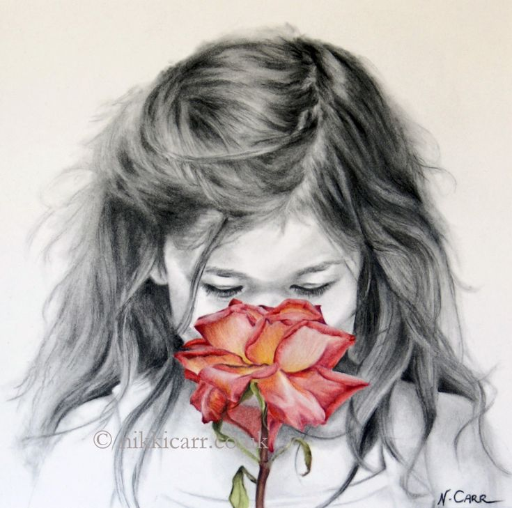 """Limited Edition Print of original charcoal drawing of a girl, face on, smelling a red rose, """"Kiss From A Rose"""" by artist Nikki Carr, from £60 (black, white and shades of red). Also available as a beautiful art card (£2). Find out more by clicking on the image to go directly to the product page. Receive an instant 10% discount code by joining my subscribers list at nikkicarr.co.uk. Please repin!"""