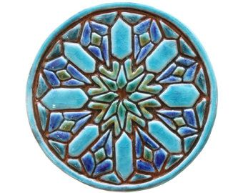 Arte Marroqui hecho de cerámica - arte exterior - decoración de jardín - azulejo artesanal - moroc 15cm #2 - turquesa