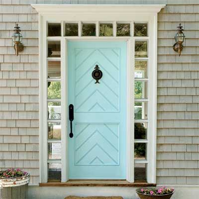 """This front door looks elegant painted with Behr  """"Cool Jazz"""". Lots of visual interest with textures and light here."""