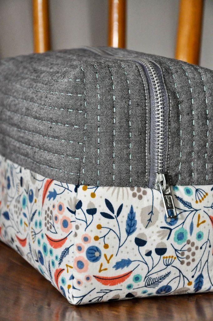 boxy cosmetic bag with babylock sashiko stitching