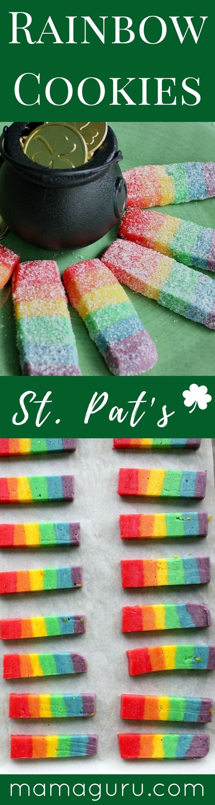 Rainbow Cookies Recipe.  Perfect for St. Patrick's Day