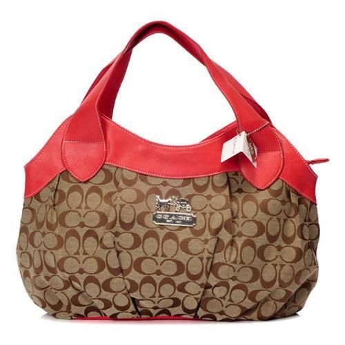 Look Here! Coach In Signature Medium Red Hobo BCA Outlet Online