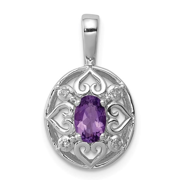 13mm x 4mm 925 Sterling Silver Rhodium Plated Diamond and Amethyst Oval Pendant