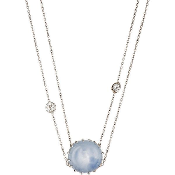 Renee Lewis Women's Cabochon Pendant Collar ($17,000) ❤ liked on Polyvore featuring jewelry, necklaces, blue, white gold necklace, white gold chain necklace, antique necklaces, double strand necklace and white gold pendant necklace