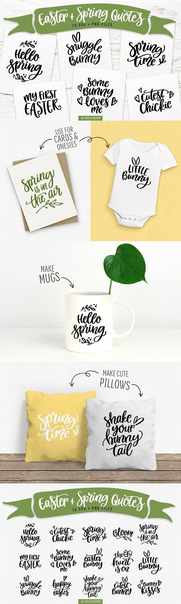 Easter & Spring quotes SVG bundle by Skyla Design on @creativemarket Easter & Spring quotes SVG bundle by Skyla Design on Creative Market