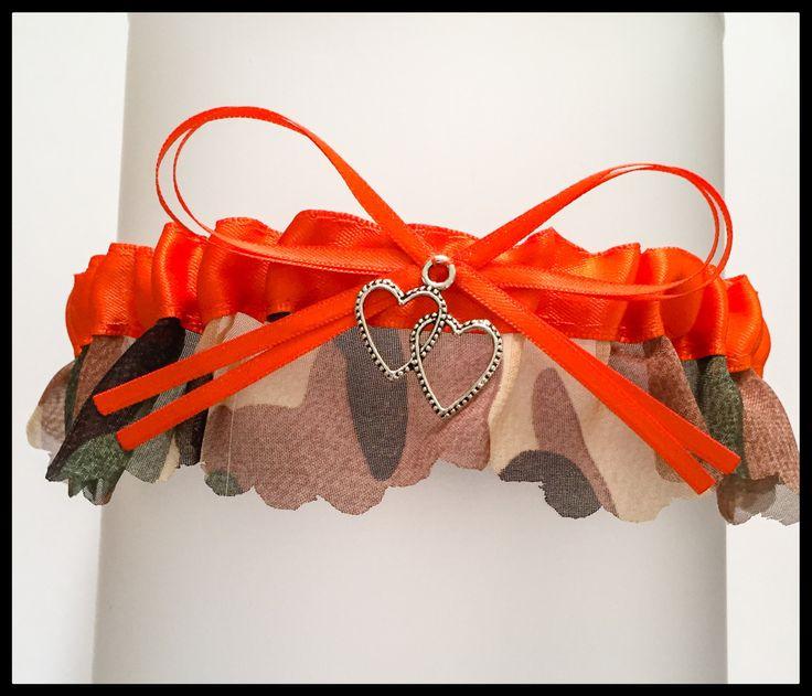 SEXY Camouflage Orange Charm Bridal Wedding Keepsake Garter Camo Garter Prom Garters by BellaDivaCouture on Etsy