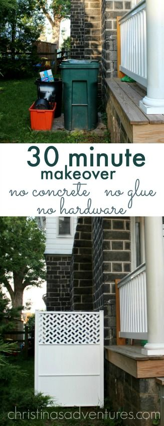 Easy way to hide trash cans - no concrete, no glue, and no hardware required!