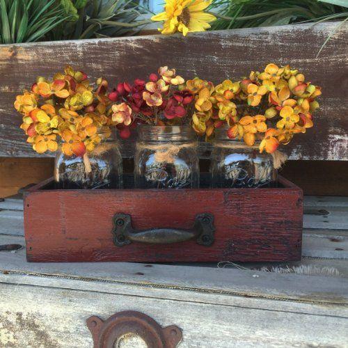 Amazon.com: Mason tarros de enlatado de madera de cajón con 3 Bola Jar apenada rústica de la pieza central de la menta / Azul Caribe: hecho a mano