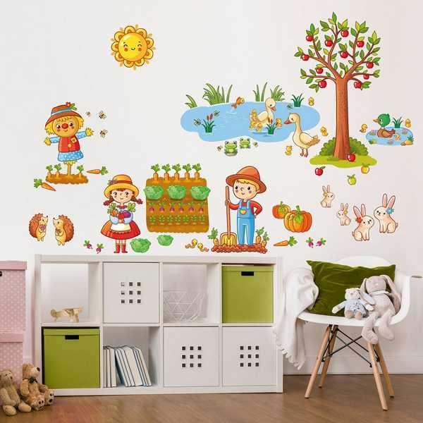 Ideal Wandtattoo Bauernhof Set mit Garten Ein z ckers es Wandtattoo f r das Kinderzimmer Auch f r Kleinder