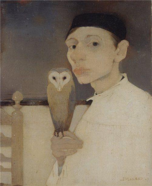 Self-portrait with owl. 1911. Dutch painter Jan Mankes