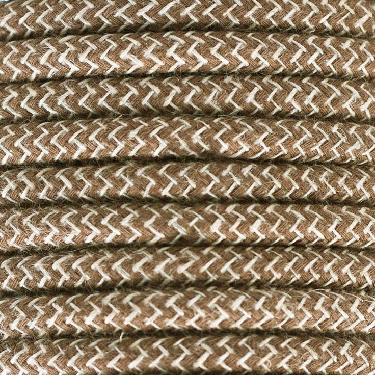 Comprar | Cable textil decorativo bicolor marrón y lino | Comprar cables textiles eléctricos decorativos de colores #lamparas #decoracion #iluminacion #accesorioslamparas #cablesdecolores #accesoriosiluminacion