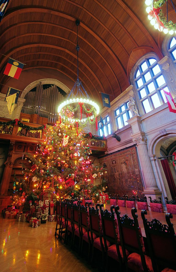 Giant Christmas Tree Inside The Banquet Hall At Biltmore House In Asheville