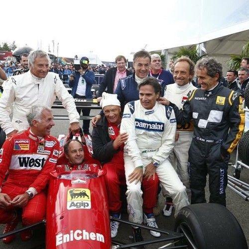 Zeltweg 2015: Prost (R), Martini, Alesi, Piquet, Lauda, Berger, Patrese e Danner (Photo: FIA)