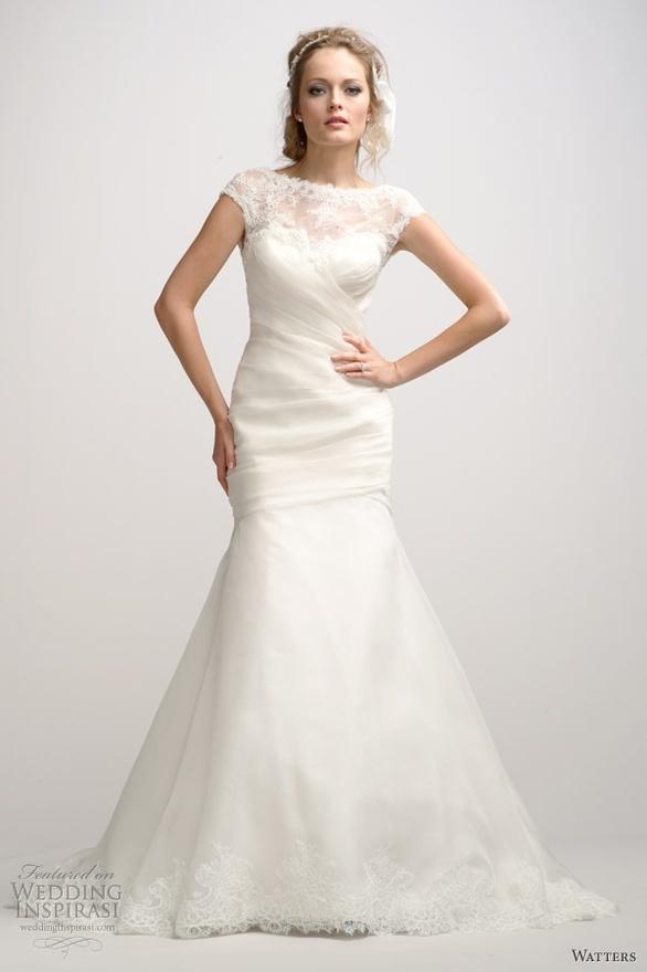 Lace keyhole back slim wedding dress style t3342 wedding for Slimming wedding dress styles