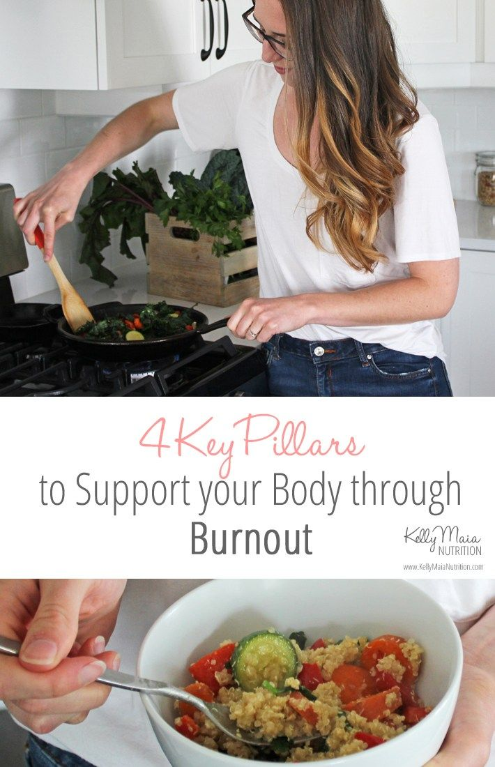 Are you burnt out? Exhausted? Drained? Overwhelmed? Stressed out? Here's the truth - burnout is unsustainable. Click here to learn the FOUR key pillars to support your body through burnout or adrenal fatigue, including nutrition and lifestyle recommendations. | Kelly Maia Nutrition