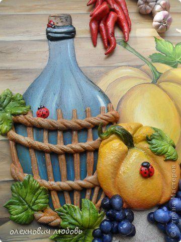 """""""Осенний натюрморт""""Овощи и фрукты из теста,фон , бутылка и ..."""