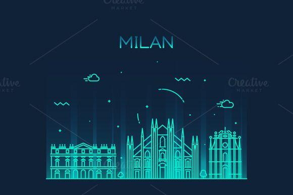 Milan skyline (Italy) - Illustrations - 1