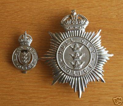 British Police online Museum - Cap Badges/Hull City Police. Helmet Plate & Cap Badge. KC