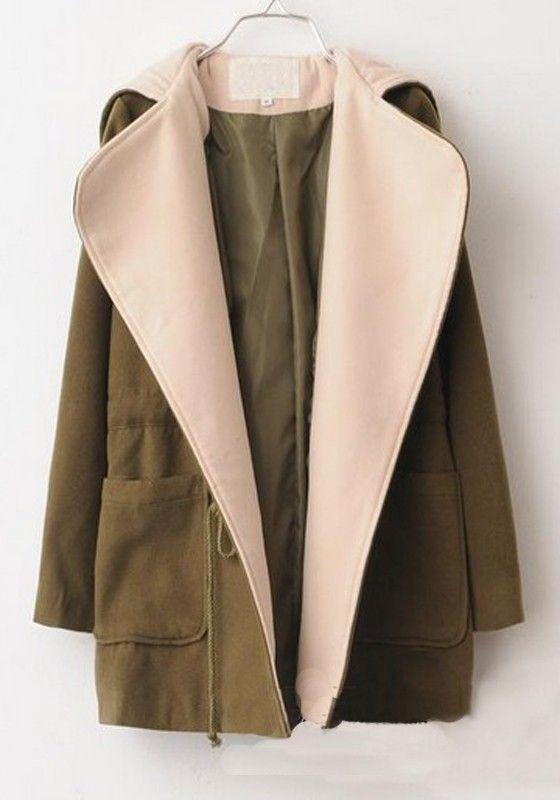 Army Green Plain Pockets Drawstring Loose Wool Coat
