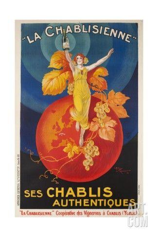 Art.fr - Impression giclée 'La Chablisienne, Ses Chablis Authentiques, French Wine Poster'