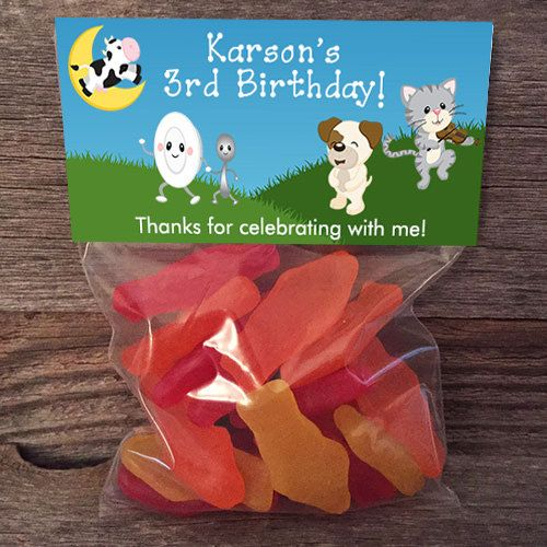 20 30 40 50 Mother Goose Nursery Rhymes Birthday Treat Bags Stickers and Bags Included School Class Party Favor