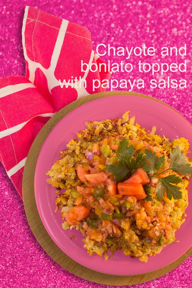 Fry the chayote and the boniato for a meatless Monday dinner that's topped with a papaya relish. Delish. http://www.brookstropicals.com/nutrition/chayote_23.html