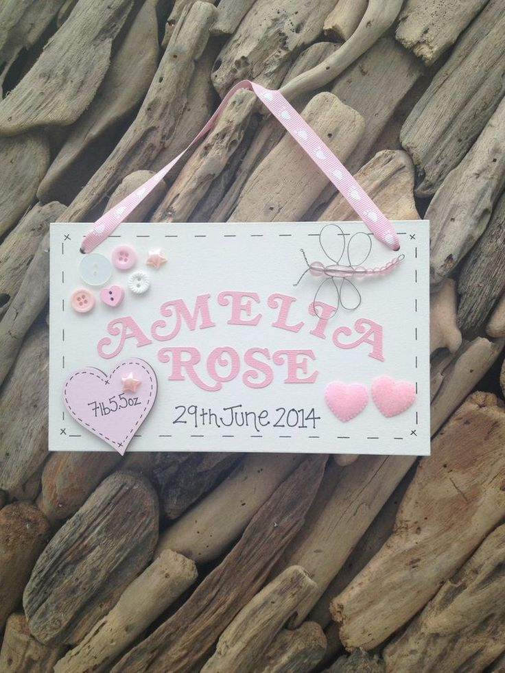 Personalised New Baby Girl Plaque Christening Keepsake Name Weight Birthdate