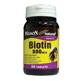 Mason Vitamina Biotin 800 Mcg Ayuda a mejorar la salud del cabello, las uñas y diabetes.