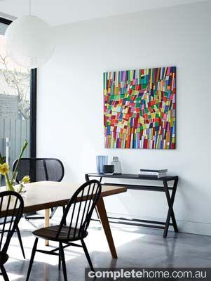 Bold, beautiful artwork in a modern Edwardian home.