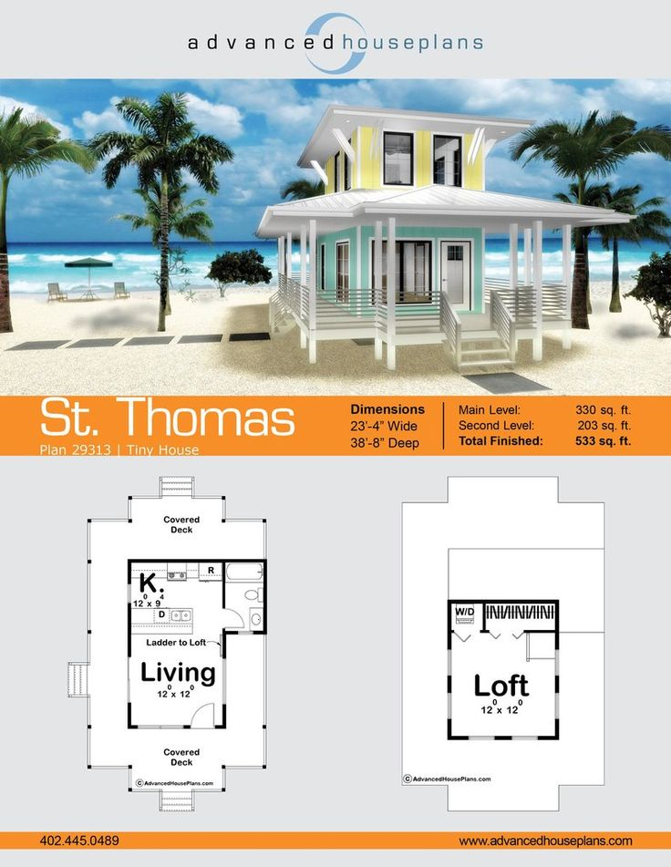 St. Thomas is beach-lover's dream! This compact tiny house planis perfect for the minimalist looking to take advantage of beautiful property with a full wrapar