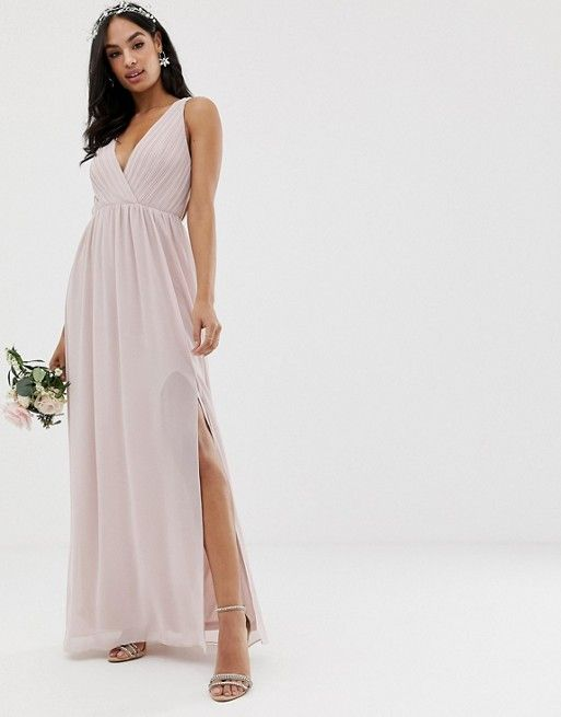 TFNC bridesmaid exclusive pleated maxi dress with back detail in taupe