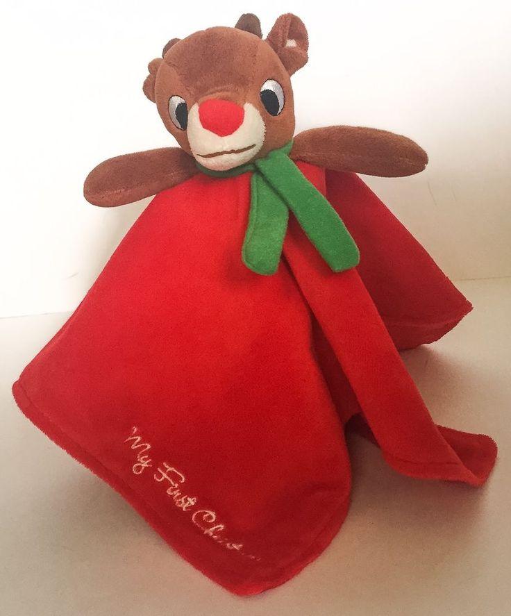Rudolph Red Nosed Reindeer Security Blanket Lovey Rattle Plush Stuffed Animal #RashtiRashti