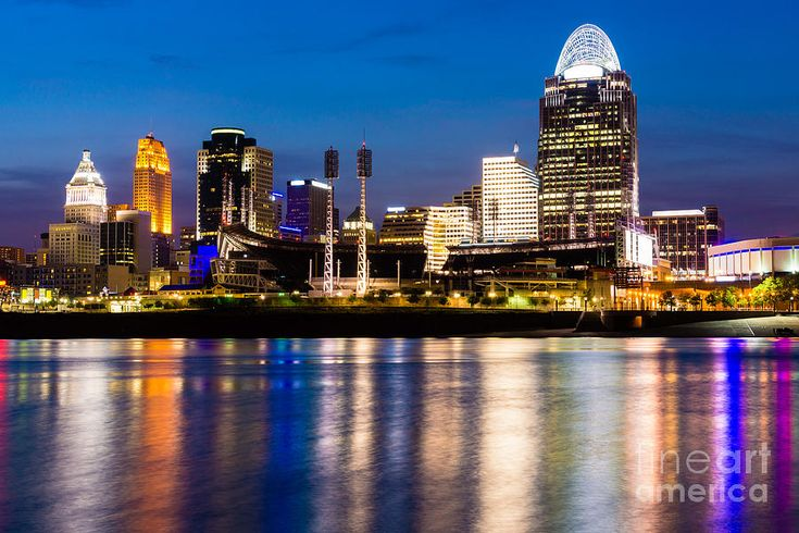 Cincinnati Skyline At Night  Photograph