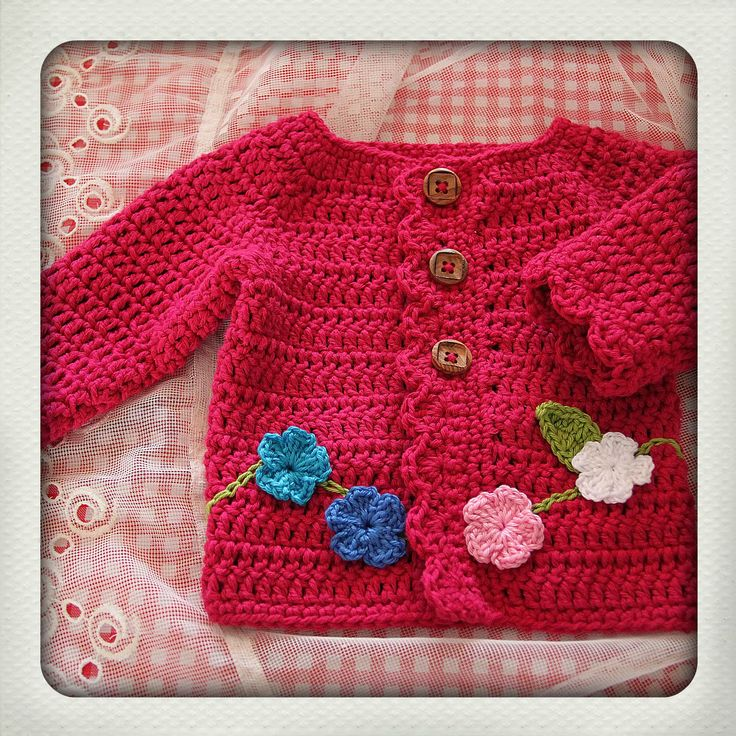 Pink cotton - flower - baby cardigan - crochet