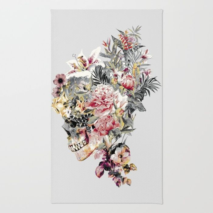 SKULL XII Area & Throw #Rug #skull #collage #exotic #birds #art #rizapeker #home #homedecor