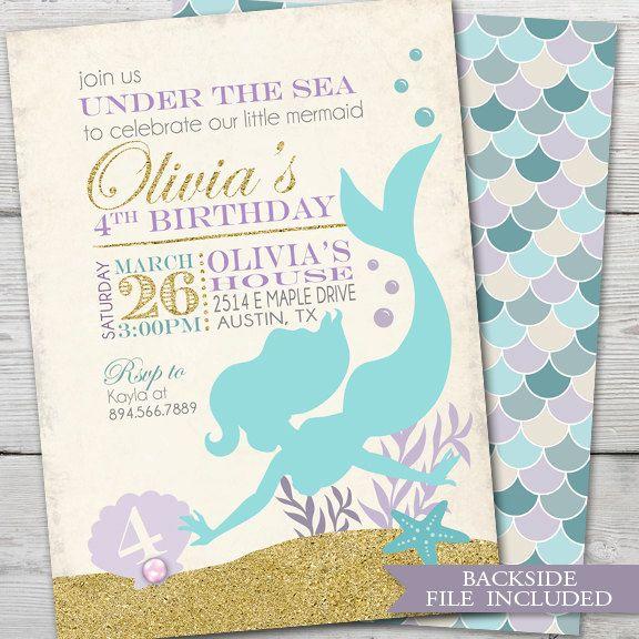 Mermaid Birthday Invitation, PRINTABLE Mermaid Birthday Party Invite, Mermaid Invitation Birthday, Mermaid Invite ID: BD126001