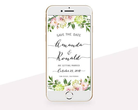 Electronic Save the Date Flower Save the Date Hydrangea Save