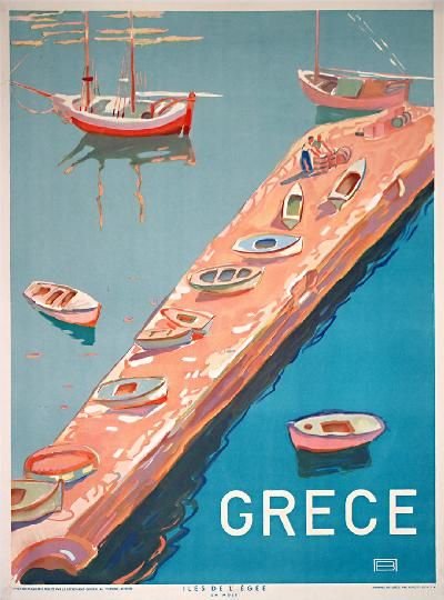 Original Vintage Poster Greece Aegean Island Jetty Greek Travel 1949