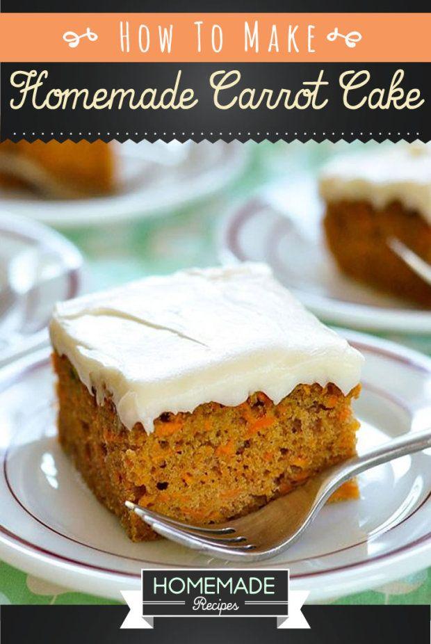 Homemade carrot cake recipe, healthy dessert.   http://homemaderecipes.com/world-cuisine/homemade-carrot-cake-recipe-2/