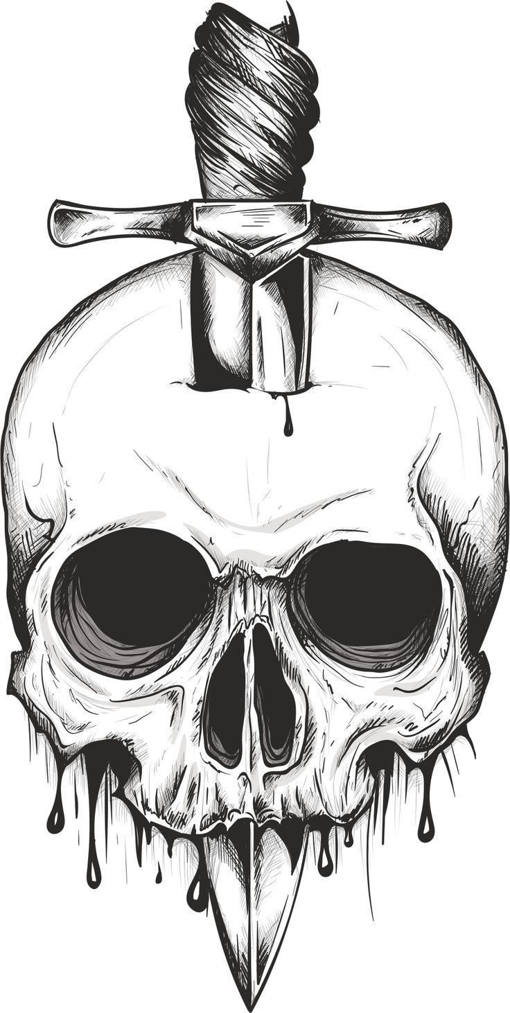 Sword Skull Print Free Vector cdr Download | Skull Vectors ...