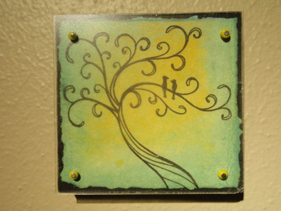 Wood art block with anti-glare plexiglass.  For sale on etsy...check it out.