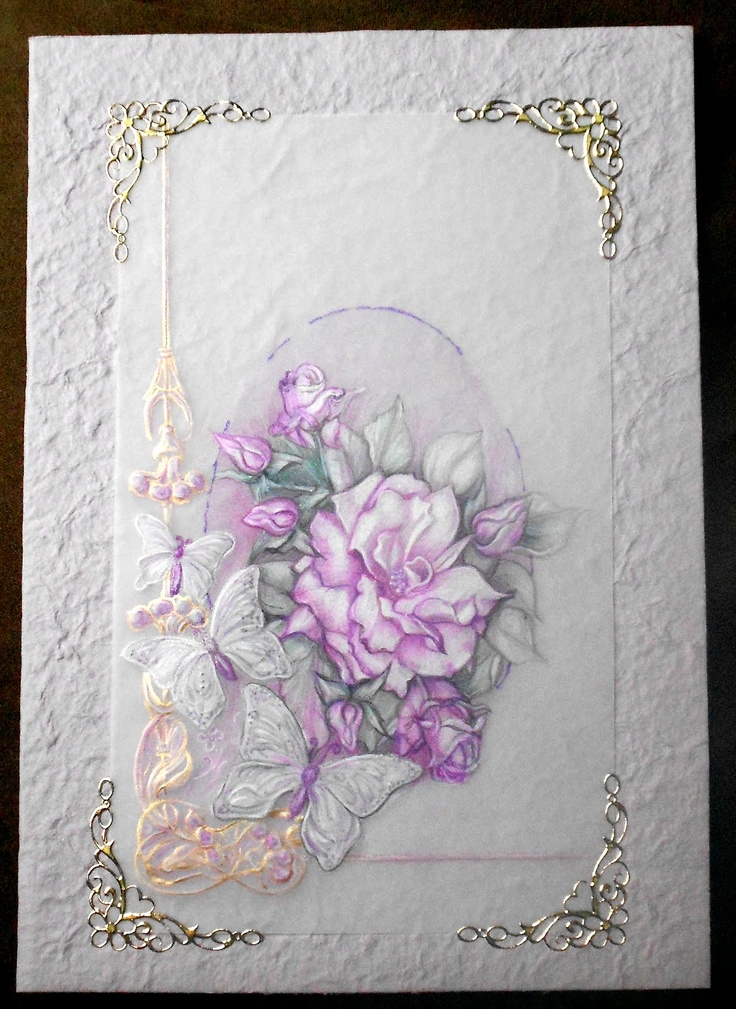 Roses et papillons.  crayons aquarelles, pergamano.  Shanon Jeurissen