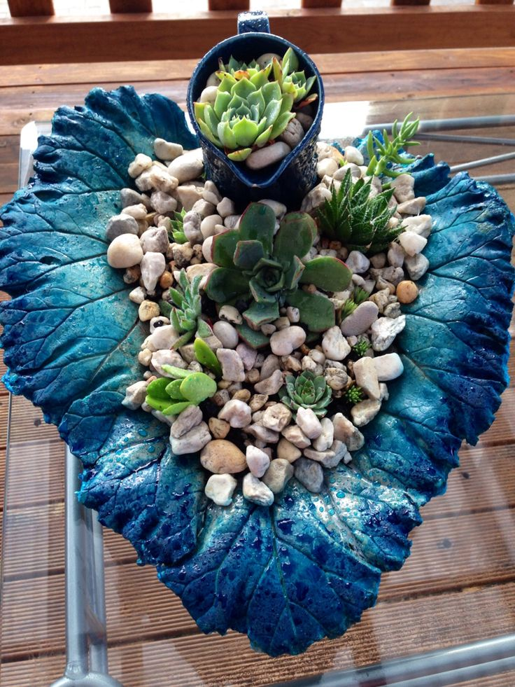 Concrete and plaster leaf bowl. Stained and sealed. Succulent bowl by Liz Mason