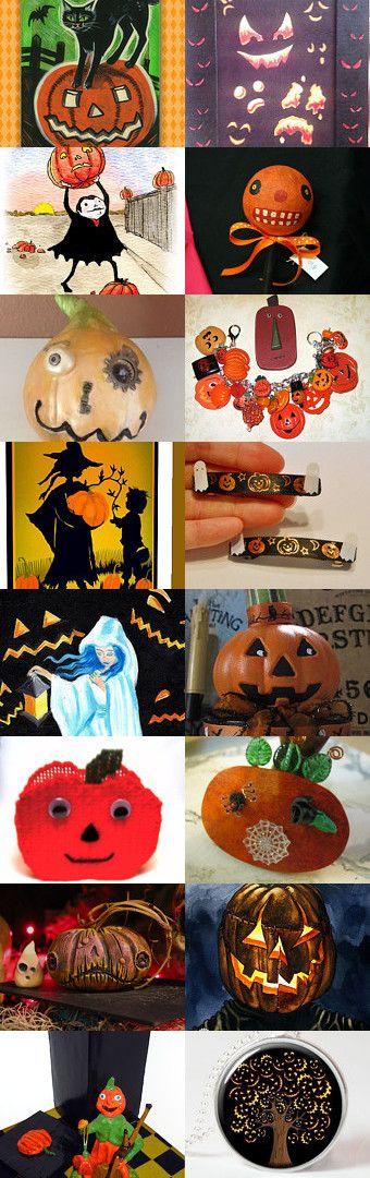 Jack o' Lanterns lit by HAB by TwilightFaerie on Etsy--Pinned with TreasuryPin.com #jackolantern #halloween #halloweenartistbazaar
