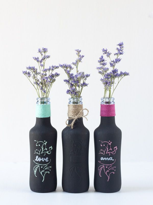 Azucarillos de Colores: Botellitas de refresco recicladas con pintura pizarra (chalk paint)