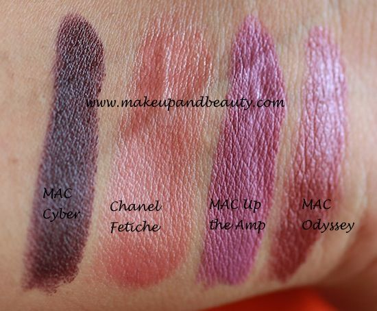 #mac #lipstick #review #odyssey #cyber #uptheamp #chanel #fetiche #swatch