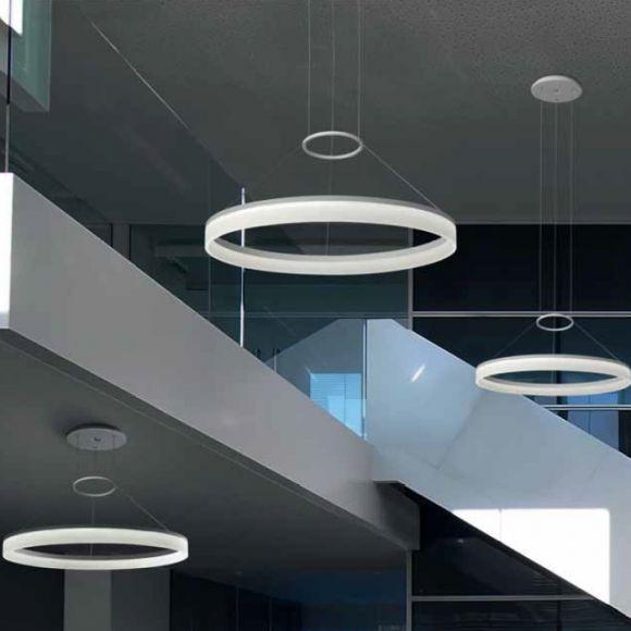 LED-Pendelleuchte in 60cm oder 80cm Durchmesser inklusive LED 3000K, komplett weiß